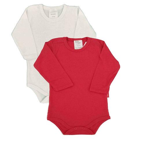 Kit 2 Bodies Bebê Manga Longa-Baby Fashion-Branco e Vermelho