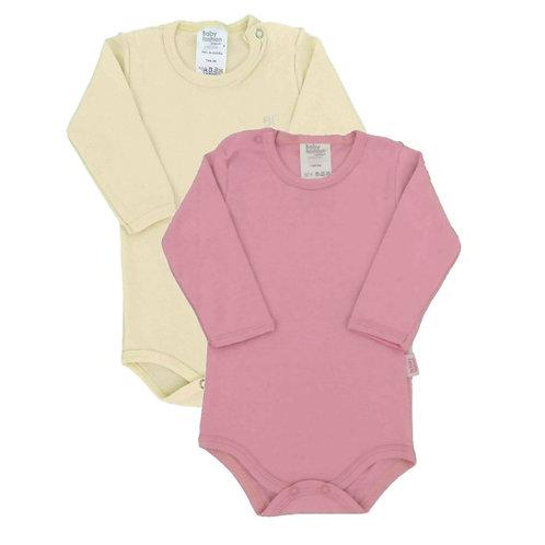 Kit 2 Bodies Bebê Manga Longa- Baby Fashion - Rosa e Creme