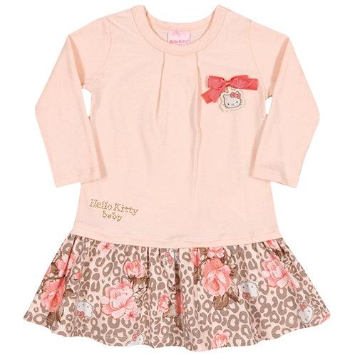 Vestido Manga Longa Leopard - Salmão - Hello Kitty