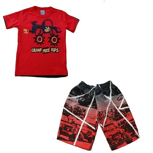Conjunto Bermuda E Camiseta Trucker - Vermelho - Abrange