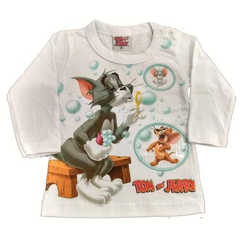 Camiseta Manga Longa Tom E Jerry - Branca-  Kamylus