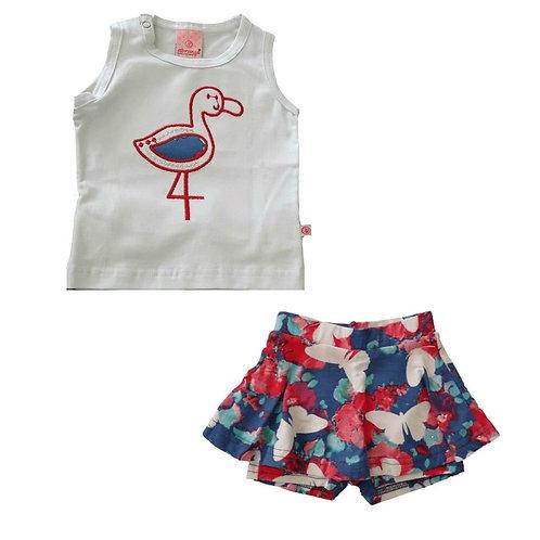 Conjunto Infantil Com Short Saia E Blusa Flamingo  - Abrange
