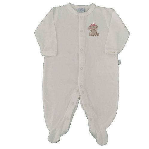 Macacão Plush Bebê Cachorrinha - Piu Piu - Marfim