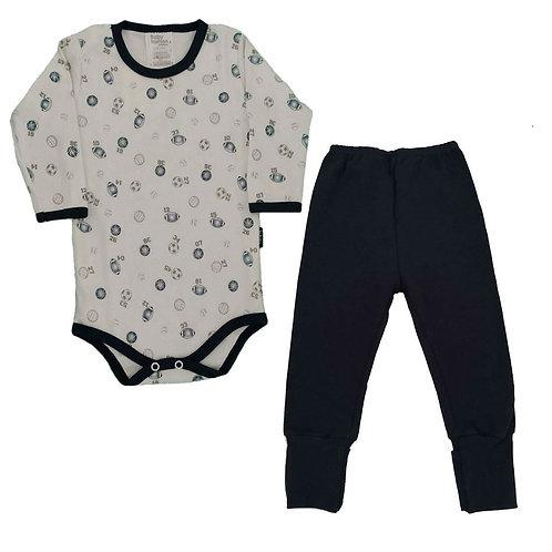 Conjunto Body e Calça Bebê Esportivos - Baby Fashion - Azul