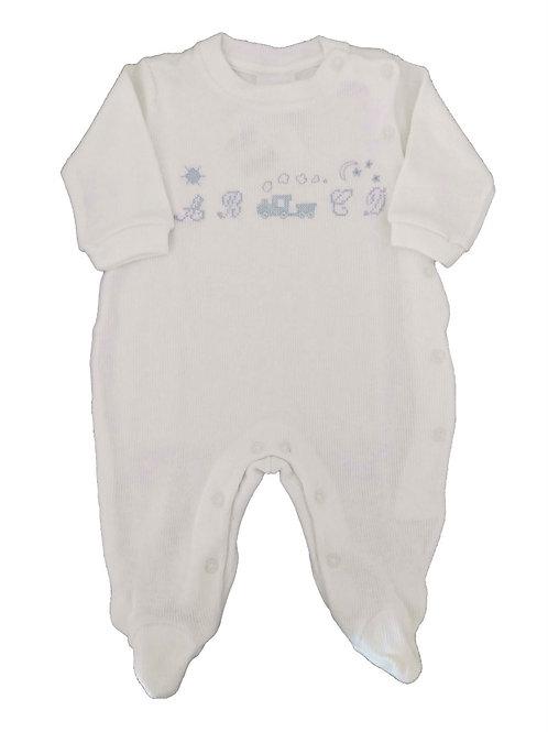 Macacão Infantil Ponto Cruz - Baby Fashion - Branco