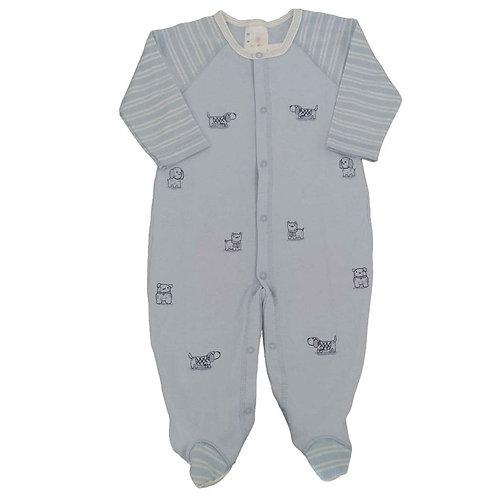 Macacão Suedine Bebê Dog Salpicados - Baby Fashion - Azul