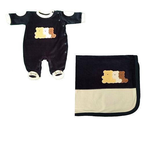 Saída Maternidade Menino Ursinho -  Marinho - Baby Fashion