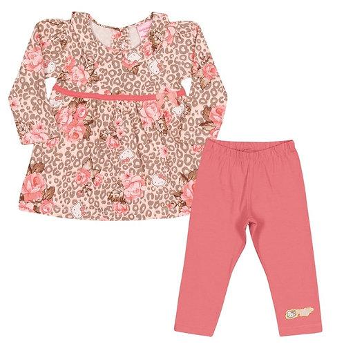 Conjunto Blusa E Calça Leopard - Floral Coral - Hello Kitty