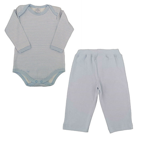 Conjunto Body e Calça Bebê - Piu Piu - Azul