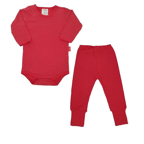 Conjunto Body e Calça Bebê Poá - Baby Fashion - Vermelho