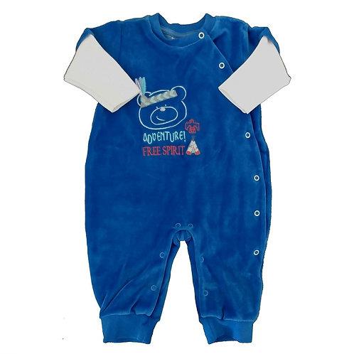 Macacão Plush Bebê Ursinho Adventure - Baby Fashion - Azul
