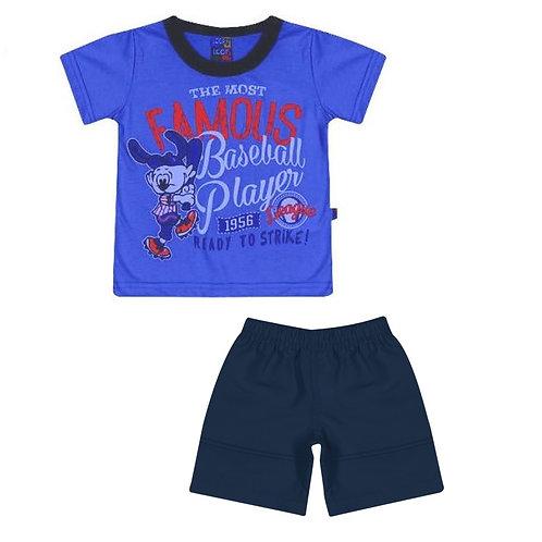 Conjunto Bermuda E Camiseta Baseball - Azul - Loopy De Loop