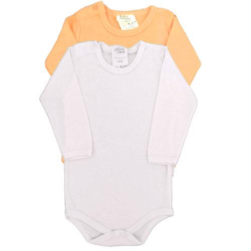 Kit 2 Bodies Bebê Manga Longa -Baby Fashion-Branco e Laranja