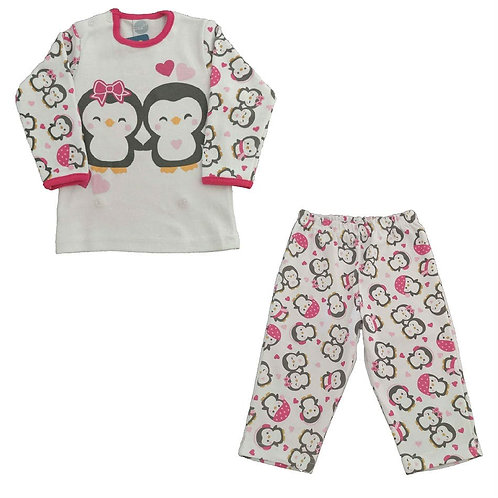 Pijama Infantil Menina Pinguim - Marfim - Piu Piu