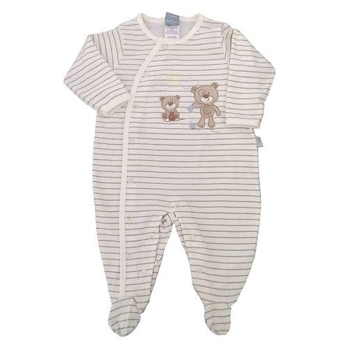 Macacão Suedine Bebê Ursinho- Marfim - Piu Piu