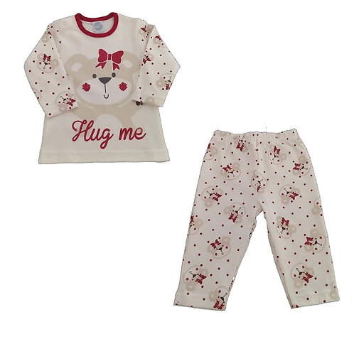 Pijama Infantil Menina Ursinha - Marfim - Piu Piu