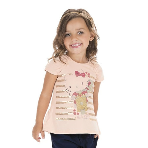 Blusa Infantil Hello Kitty - Salmão - Hello Kitty