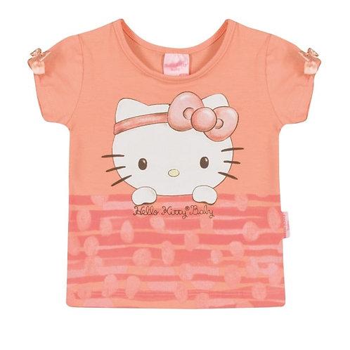 Camiseta Bebê - Salmão - Hello Kitty