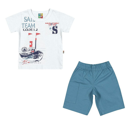 Conjunto Bermuda E Camiseta Barcos - Branco - Loopy De Loop