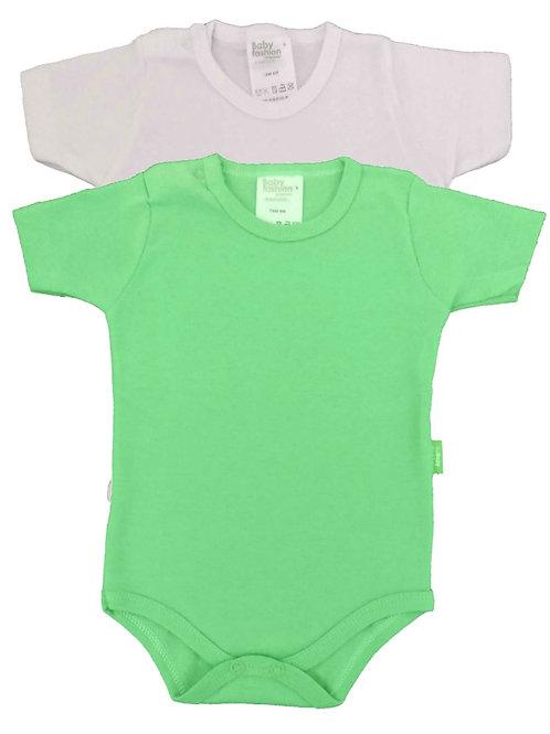 Kit 2 Bodies Bebê Manga Curta - Baby Fashion -Branco e Verde