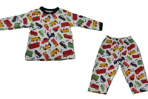 Pijama Infantil Menino Carro - Branco - Piu Piu