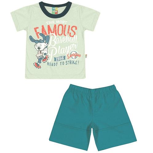 Conjunto Bermuda E Camiseta Baseball - Verde - Loopy De Loop