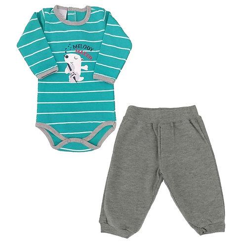 Conjunto Body e Calça Bebê Melody - Baby Fashion - Verde