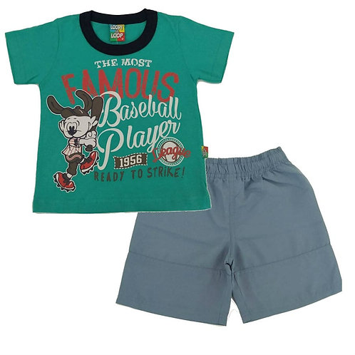 Conjunto Bermuda e Camiseta Baseball - Loopy de Loop - Verde