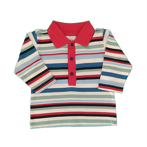 Camiseta Polo Manga Longa  - Baby Fashion - Listrado