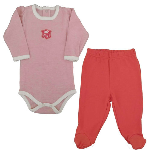 Conjunto Body e Calça Bebê - Baby Fashion - Laranja
