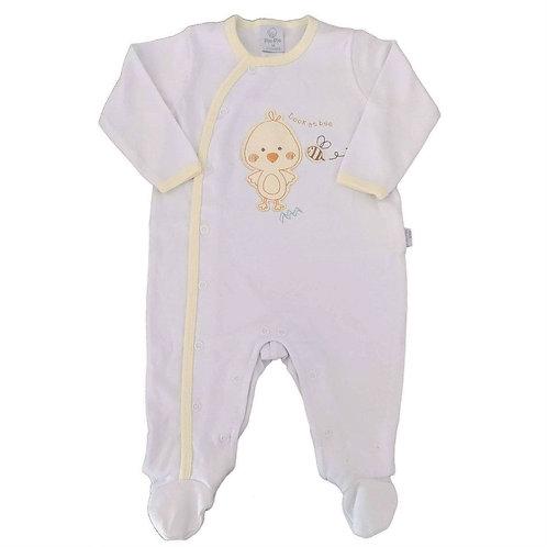Macacão Suedine Bebê Patinho - Branco - Piu Piu