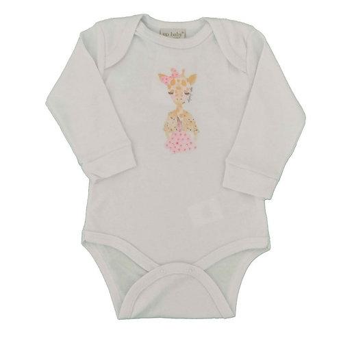 Body Manga Longa Suedine Girafinha strass - Up Baby - Branco