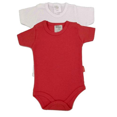 Kit 2 Bodies Bebê Manga Curta-Baby Fashion -Branco Vermelho
