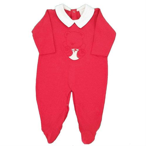 Macacão Suedine Bebê Ursinho de Fralda - Baby Fashion - Vermelho