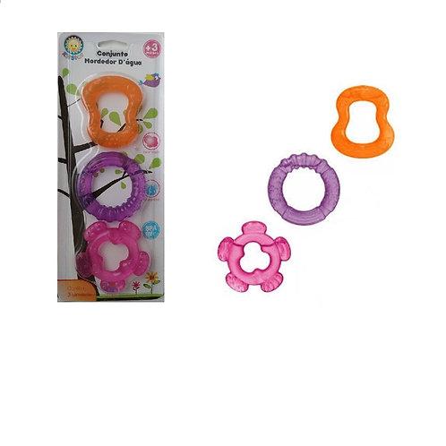 Mordedor De Água Para Bebês Kit Com 3 - Rosa- Kitstar
