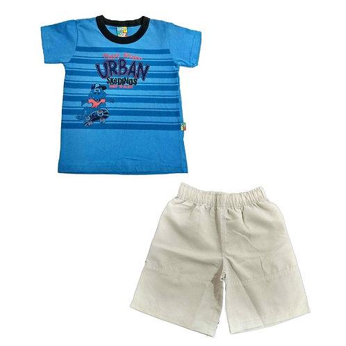 Conjunto Infantil De Bermuda E Camiseta -azul- Loopy De Loop