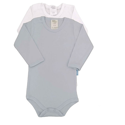 Kit 2 Bodies Bebê Manga Longa- Baby Fashion - Branco e Azul Claro