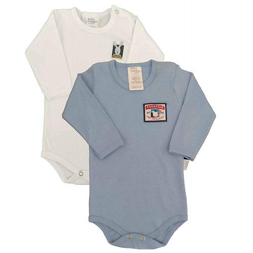 Kit 2 Bodies Bebê Manga Longa- Baby Fashion - Azul e Branco