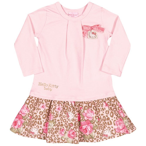Vestido Manga Longa Leopard - Rosa - Hello Kitty