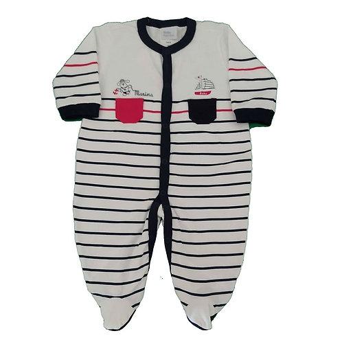 Macacão Suedine Bebê Dog Marinheiro - Baby Fashion - Branco