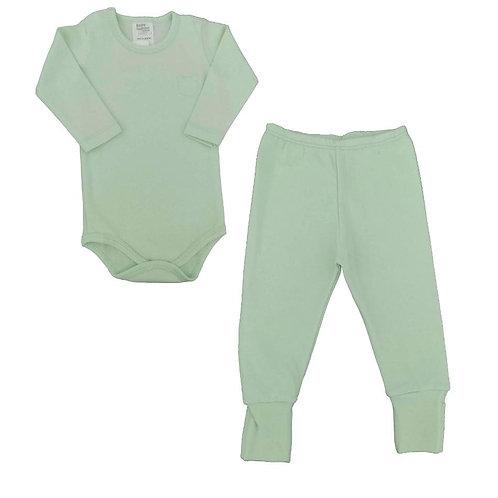 Conjunto Body e Calça Bebê Ursinho- Baby Fashion - Verde