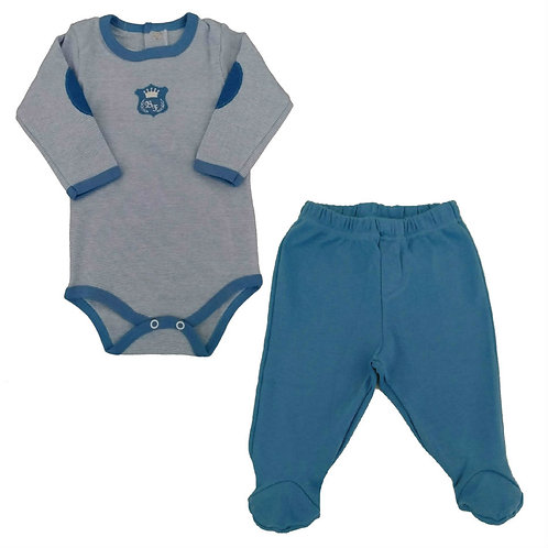 Conjunto Body e Calça Bebê Brasão - Baby Fashion - Azul