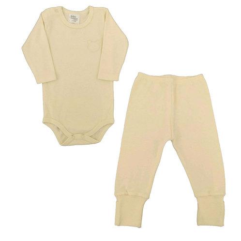 Conjunto Body e Calça Bebê Ursinho- Baby Fashion - Amarelo