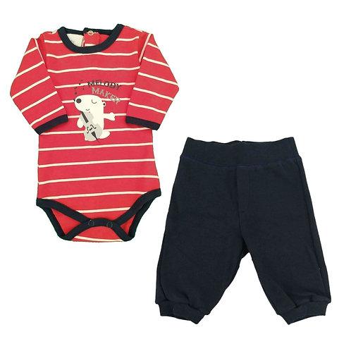 Conjunto Body e Calça Bebê Melody - Baby Fashion - Vermelho