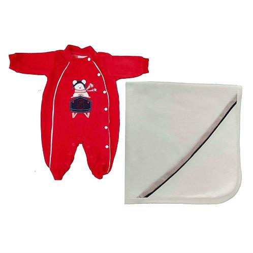 Saída Maternidade Menino Piloto- Vermelho - Baby Fashion
