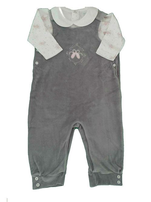 Jardineira Bebê e Body Bailarina - Baby Fashion - Cinza