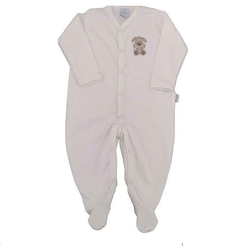 Macacão Suedine Bebê Cachorrinho - Marfim - Piu Piu
