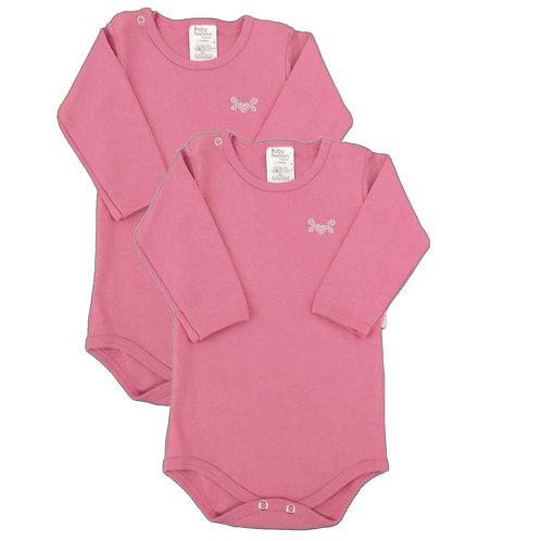 Kit 2 Bodies Bebê Manga Longa- Baby Fashion - Rosa