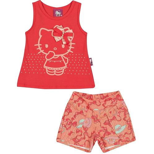 Conjunto Short E Blusa - Coral - Hello Kitty