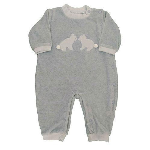 Macacão Plush Bebê Ursinho - Baby Fashion - Azul Bebê